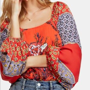 Free People Positano Printed Peasant Top Size XS